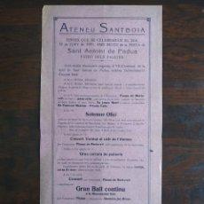 Coleccionismo: FESTA DE SANT ANTONI DE PÀDUA AL ATENEU SANTBOIA DE SANT BOI DE LLOBREGAT 1931 VII CENTENARI DE MORT. Lote 195392740
