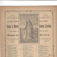 Coleccionismo: GLORIOSOS TRIUNFOS.- VERGE Y MÀRTIR SANTA CRISTINA. VILA DE LLORET- GERONA . Lote 195393367