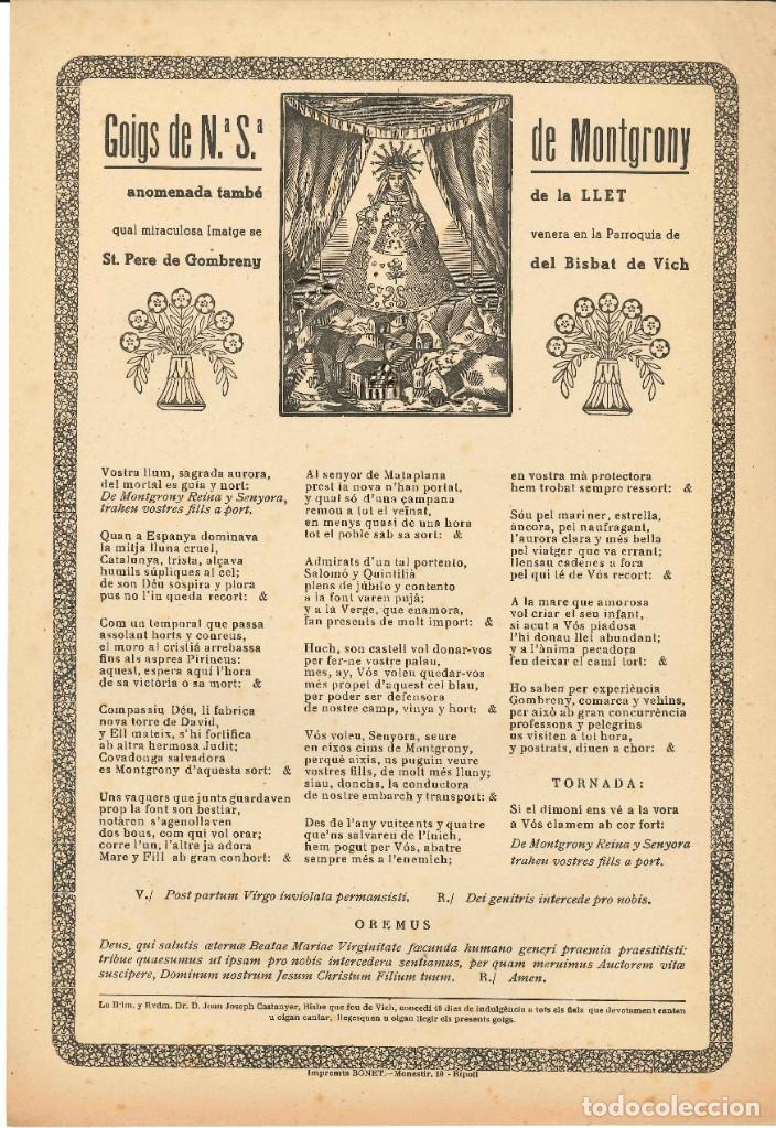 GOIGS.- NTRA. SRA. DE MONTGRONY. PARROQUIA ST. PERE DE GOMBRENY. IMPRENTA BONET- VICH (Coleccionismo - Laminas, Programas y Otros Documentos)