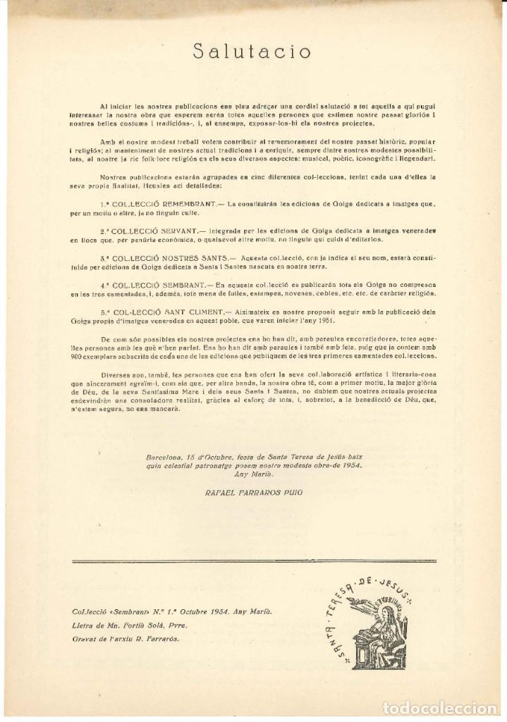 Coleccionismo: GOIGS.- STA. TERESA DE JESÚS. EDICIONS SANTA TERESA DE JESÚS. BARCELONA- 1954 - Foto 2 - 195393883