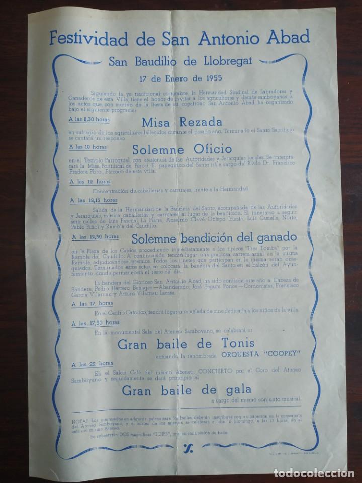 "FESTIVITAT SANT ANTONI ABAD ""ELS TRES TOMBS"" 1955 HERMANDAD SINDICAL SANT BOI DE LLOBREGAT (Coleccionismo - Laminas, Programas y Otros Documentos)"