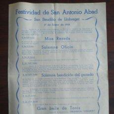 """Coleccionismo: FESTIVITAT SANT ANTONI ABAD """"ELS TRES TOMBS"""" 1955 HERMANDAD SINDICAL SANT BOI DE LLOBREGAT. Lote 195393922"""
