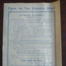 """Coleccionismo: FESTIVITAT SANT ANTONI ABAD """"ELS TRES TOMBS"""" 1956 HERMANDAD SINDICAL SANT BOI DE LLOBREGAT. Lote 195394091"""