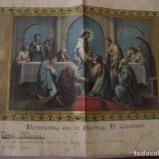 Coleccionismo: LAMINA RELIGIOSA. RECORDATORIO DE LA PRIMERA COMUNIÓN. HOLANADA. ED. NB. ITALIA. 42X28 CM. AÑO 1944.. Lote 195434138