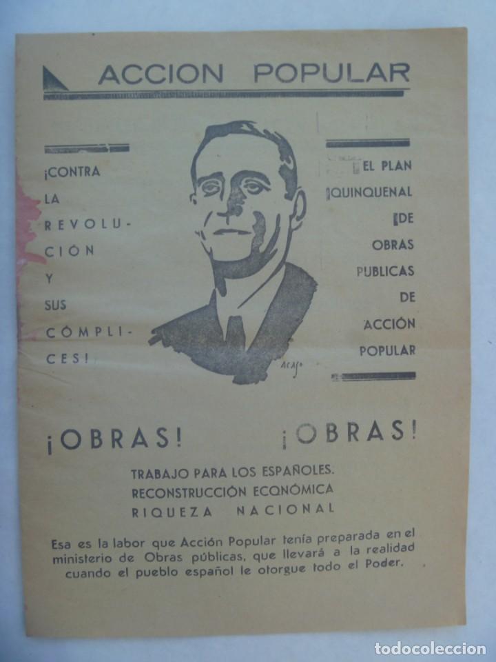 REPUBLICA : FOLLETO DE ACCION POPULAR PARA LAS ELECCIONES DE 1936 (Coleccionismo - Laminas, Programas y Otros Documentos)