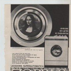 Coleccionismo: ANUNCIO PUBLICIDAD ELECTRODOMESTICOS ZOPPAS. Lote 195550855