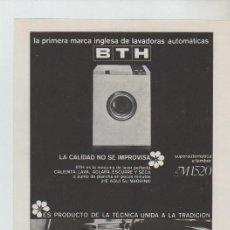 Coleccionismo: ANUNCIO PUBLICIDAD ELECTRODOMESTICOS BTH-ENCICLOPEDIA GINER. Lote 195550932