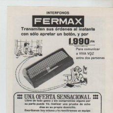 Coleccionismo: ANUNCIO PUBLICIDAD INTERFONOS FERMAX-MODA TERVILOR. Lote 195551062