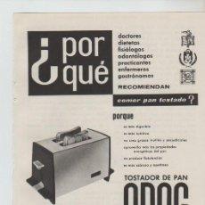Coleccionismo: ANUNCIO PUBLICIDAD ELECTRODOMESTICOS ODAG. Lote 195551086