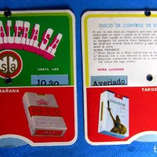 Coleccionismo: DISCO DE CONTROL DE ESTACIONAMIENTO. TABACALERA, 1969. CELTAS, DUCADOS, BISONTE, UN X 2.. Lote 195966452
