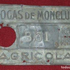 Coleccionismo: MATRICULA DE CARRO FOGAS DE MONCLUS. Lote 196158428