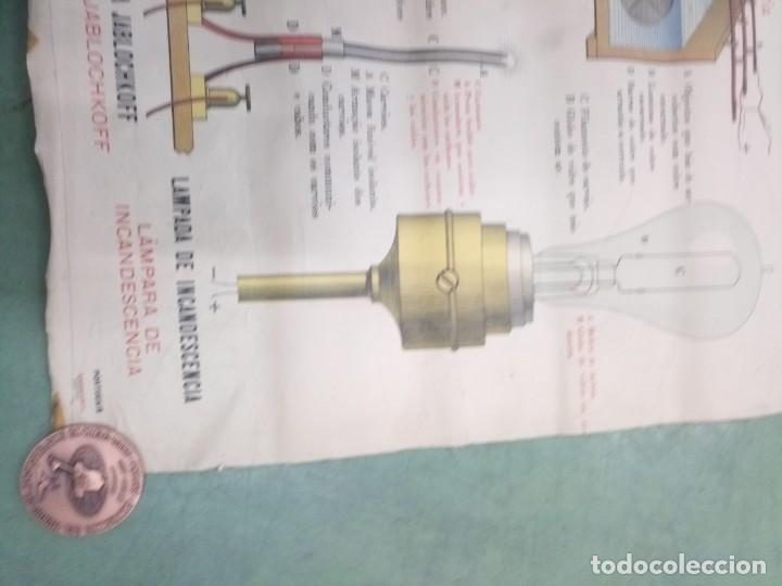 Coleccionismo: Antiguo mapa escuela en tela pilas electricidad 115x75 - Foto 2 - 196920132