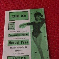 Coleccionismo: TEATRO VICO - JUMILLA ( MURCIA ) - 14 DICIEMBRE 1965 - PROGRAMA DE REVISTAS - ESPECTÁCULOS IRIS. Lote 197101482