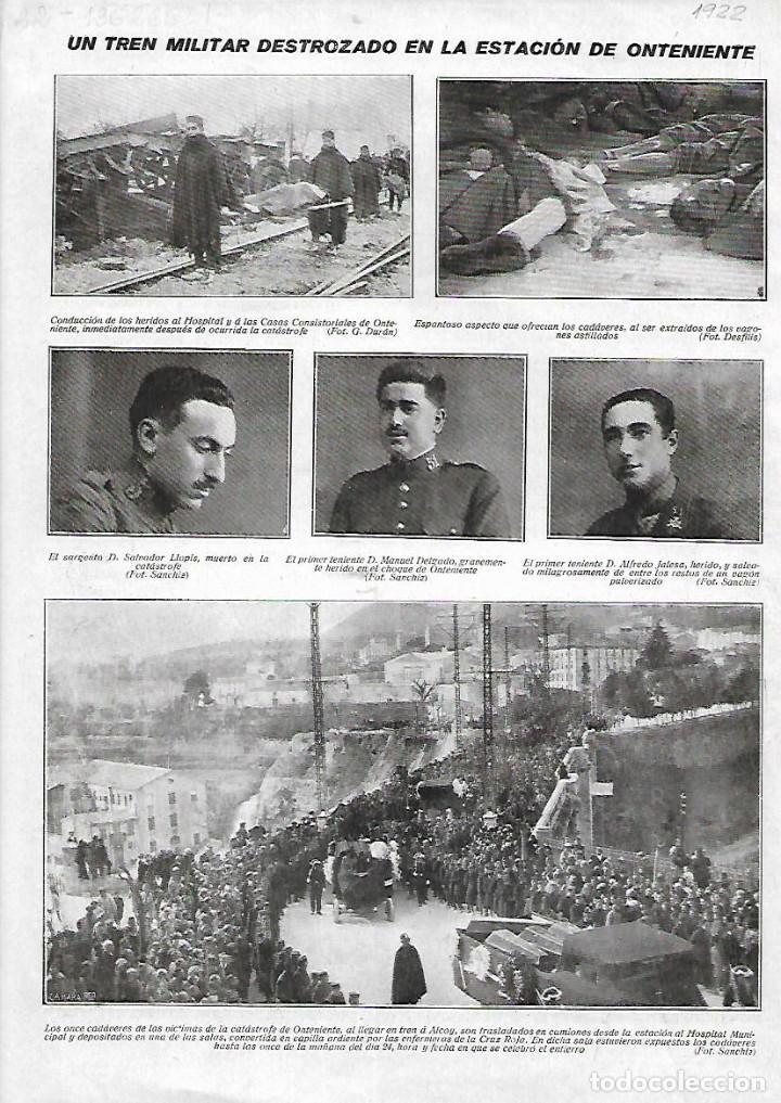 HOJAS REPORTAJE AÑO 1922 ALCOY ONTENIENTE ACCIDENTE TREN MILITAR DESTROZADO EN LA ESTACION VICTIMAS (Coleccionismo - Laminas, Programas y Otros Documentos)