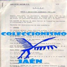 Coleccionismo: LAND ROVER SANTANA - FABRICA DE LINARES (JAÉN) - CALENDARIO LABORAL AÑO 1989 ....ZXY. Lote 197391373