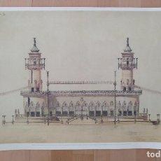 Coleccionismo: LAMINA PROYECTO DE EMBARCADERO ANTONI GAUDI 1876 PUBLICADA POR LA CATEDRA GAUDI BARCELONA 1996. Lote 198029737