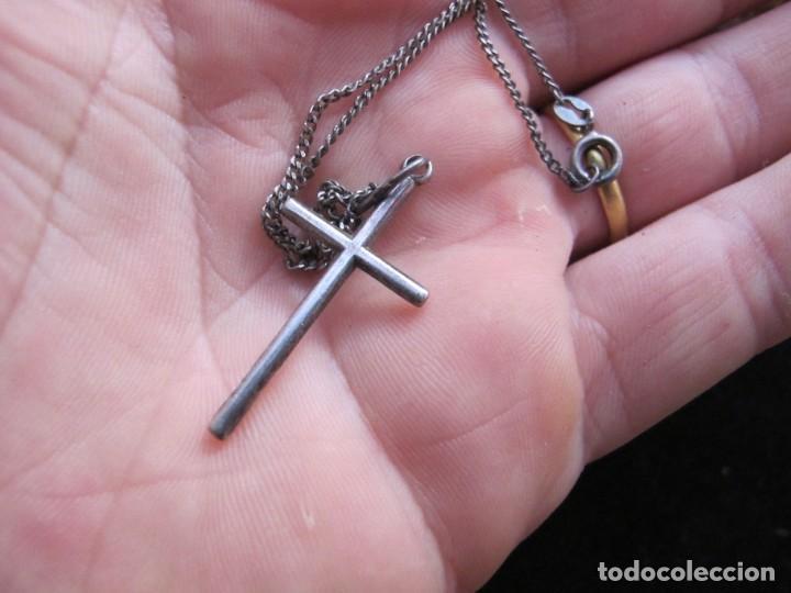 Coleccionismo: Cadena con cruz colgante en plata de ley - Foto 3 - 198134641