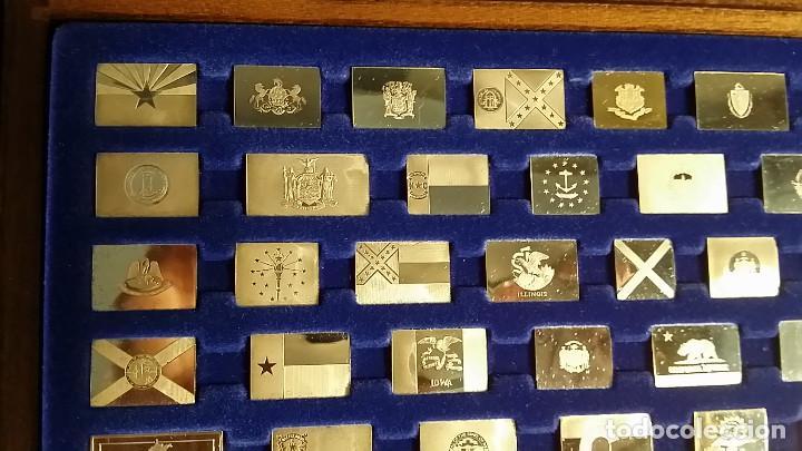 Coleccionismo: JUEGO LINGOTES BANDERAS DE ESTADOS UNIDOS (50) EN PLATA ESTERLINA AÑO 1975 CON CERTIFICADO - Foto 11 - 198290677
