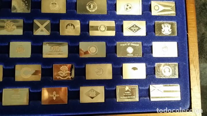Coleccionismo: JUEGO LINGOTES BANDERAS DE ESTADOS UNIDOS (50) EN PLATA ESTERLINA AÑO 1975 CON CERTIFICADO - Foto 12 - 198290677