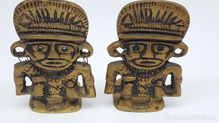JUEGO AGUANTA LIBROS EN BRONCE ( FIGURA INCA ) (Coleccionismo - Varios)