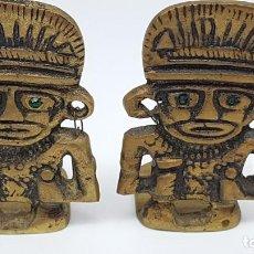 Coleccionismo: JUEGO AGUANTA LIBROS EN BRONCE ( FIGURA INCA ). Lote 198337416