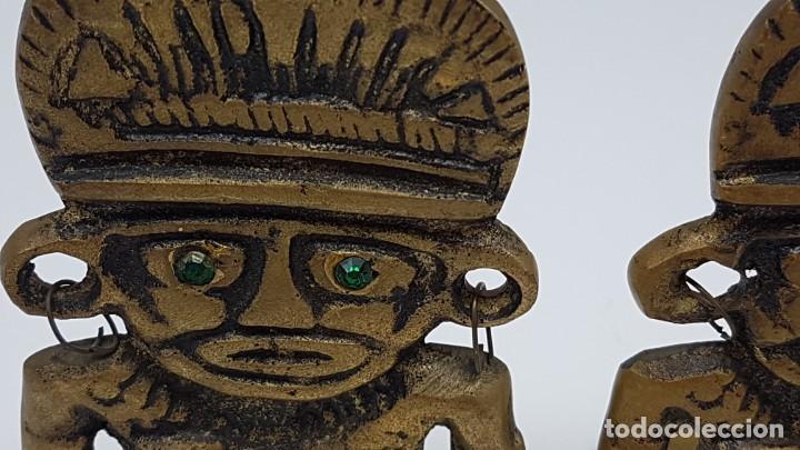 Coleccionismo: JUEGO AGUANTA LIBROS EN BRONCE ( FIGURA INCA ) - Foto 2 - 198337416