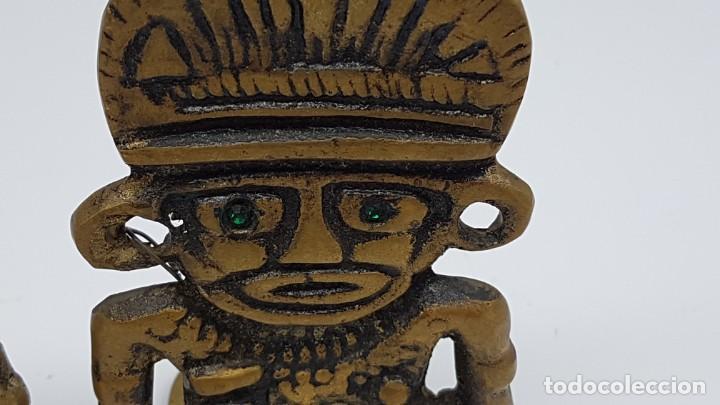 Coleccionismo: JUEGO AGUANTA LIBROS EN BRONCE ( FIGURA INCA ) - Foto 3 - 198337416