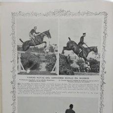 Collectionnisme: TURF. CONCURSO HÍPICO EN MADRID. COPA DE MADRID. 2 PÁGINAS REVISTA BLANCO Y NEGRO 16/6/1912. Lote 199035751