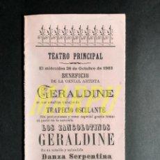Collectionnisme: PROGRAMA TRIPTICO DEL TEATRO PRINCIPAL DE BURGOS (28 OCTUBRE 1903) - GERALDINE. Lote 199281100