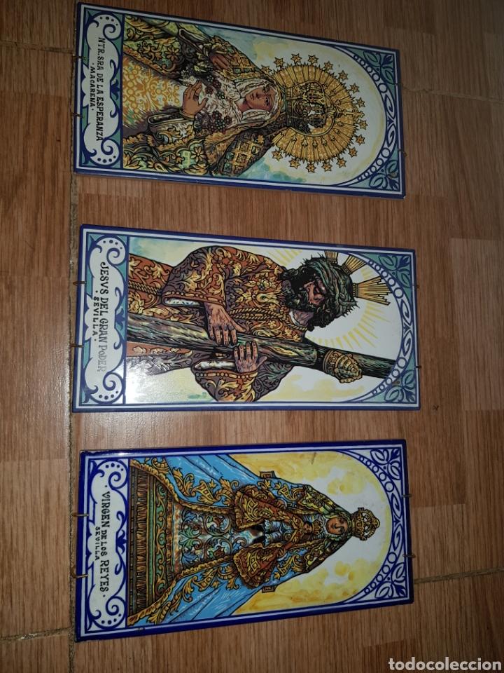 JUEGO 3 AZULEJOS MACARENA, GRAN PODER Y VIRGEN DE LOS REYES (Coleccionismo - Varios)