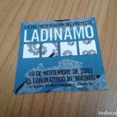 Coleccionismo: FLYER LADINAMO - FIESTA PRESENTACIÓN - EL LABORATORIO III - LOLO RICO, JAVIER CORCUERA, CARLOS TENA. Lote 200159746