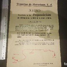 Colecionismo: AVISO , TRANVIAS DE BARCELONA - SERVICIO A LA EXPOSICION EN COMBINACION CON EL FU , LEER DESCRIPCION. Lote 200310140