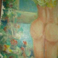 Coleccionismo: PINTURA ANTIGUA IMPRESIONISTA OLEO DESNUDO FEMENINO DETERIORADO FIRMA . Lote 200693808