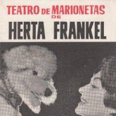 Colecionismo: FOLLETO DE TEATRO DE MARIONETAS DE HERTA FRANKEL - DISCOS BELTER - CON PUBLICIDAD. Lote 200866721