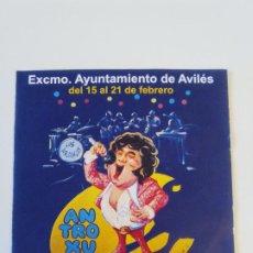 Coleccionismo: ANTROXU AVILES 15 A 21 FEBRERO 1996 PROGRAMA FIESTAS FORMATO SINGLE MUSICAL. Lote 202713748