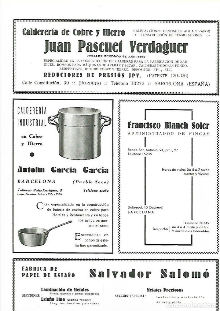 AÑO 1933 PUBLICIDAD JUAN PASCUET VERDAGUER CALDERERIA COBRE HIERRO REDUCTORES PRESION JPV BCNA (Coleccionismo - Laminas, Programas y Otros Documentos)