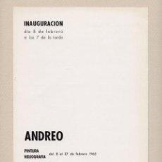 Coleccionismo: MARÍA DOLORES ANDREO (ALHAMA DE MURCIA 1934-2006). GALERÍA BIOSCA, MADRID, 1965. Lote 204213097