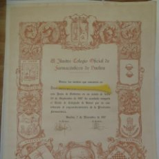 Coleccionismo: COLEGIO OFICIAL FARMACEUTICOS DE HUELVA : DIPLOMA TITULO DE COLEGIADO DE HONOR. HUELVA, 1987. Lote 204241522