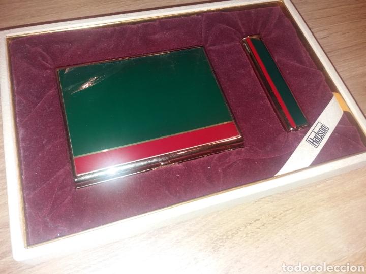 Coleccionismo: HADSON. Pitillera y mechero con caja. Nunca usado - Foto 2 - 204475411