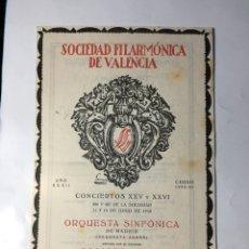 Coleccionismo: SDAD. FILARMÓNICA DE VALENCIA. AÑO XXXII. CONCIERTOS XXV Y XXVI 11 Y 12 JUNIO. ENRIQUE JORDA Y LEO. Lote 205736395