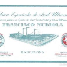 Coleccionismo: TARJETA- FÁBRICA ESPAÑOLA DE AZUL ULTRAMAR FRANCISCO NUBIOLA. GALLO. MONTSERRAT- BARCELONA. Lote 205739046