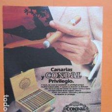 Coleccionismo: PUBLICIDAD 1987 - COLECCION TABACO - PURO CONDAL CANARIAS - TAMAÑO 22,5 X 30 CM. Lote 205766962