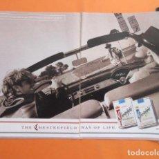 Coleccionismo: PUBLICIDAD 1994 - TABACO - CHESTERFIELD - TAMAÑO 22,5 X 30 CM X 2 HOJAS - 2 PAGINAS CORTADA CENTRO. Lote 205780192