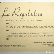 Coleccionismo: ANTIGUA TARJETA DE LA REGULADORA. ULTRAMARINOS Y CERERÍA DE OVIEDO.. Lote 205782901