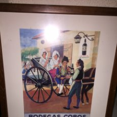 Coleccionismo: LAMINA PUBLICITARIA ANTIGUA DE LA MARCA BODEGAS COBOS 1940 ENMARCADA. Lote 206210395