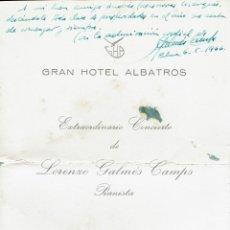 Coleccionismo: CONCIERTO LORENZO GALMÉS CAMPS. SALÓN DE AUDICIONES GRAN HOTEL ALBATROS. PALMA. AÑO 1965(MENORCA DS). Lote 206299113