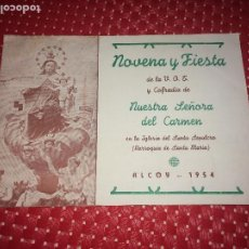 Coleccionismo: COFRADIA NUESTRA SEÑORA DEL CARMEN - ALCOY - AÑO 1954 - NOVENA Y FIESTA. Lote 206401783