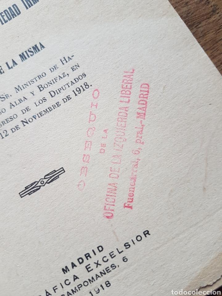 Coleccionismo: Proyecto ley Aumento valor propiedad inmueble Madrid 1918 obsequi de Izquierda Liberal - Foto 2 - 206789232