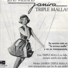 Coleccionismo: AÑO 1964 PUBLICIDAD MEDIAS JANIRA TRIPLE MALLA CREACION DE MANENT CASANOVAS TERRASSA. Lote 207021767