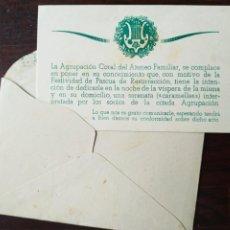Coleccionismo: AGRUPACIÓN CORAL ATENEU FAMILIAR DE SANT BOI DE LLOBREGAT. TARJETA RECITAL CARAMELLAS A CARLES MARTI. Lote 207117243